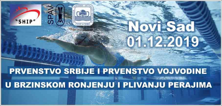 Prvenstvo Srbije i prvenstvo Vojvodine u brzinskom ronjenju i plivanju perajima, Novi Sad, 01.12.2019