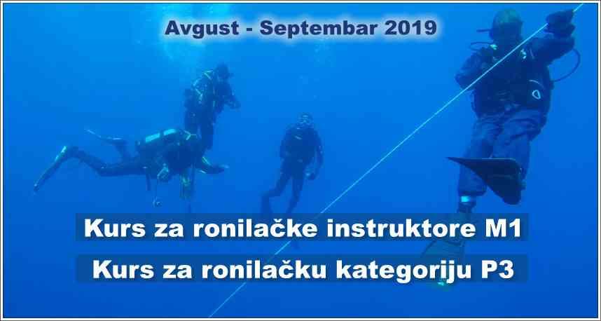 Kurs za ronilačke instruktore M1 i kurs za ronilačku kategoriju P3